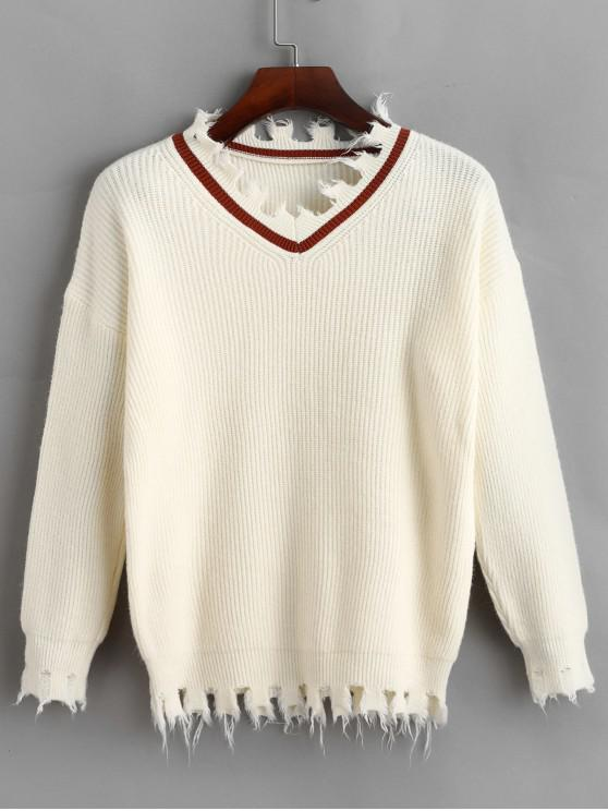 women's Pullover Frayed V Neck Sweater - WARM WHITE ONE SIZE