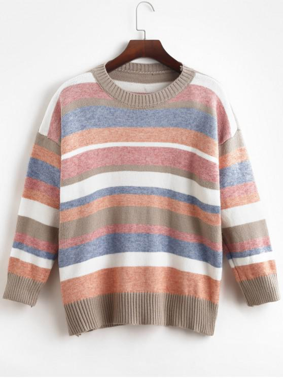 fancy Loose Crew Neck Stripes Pullover Sweater - MULTI-A ONE SIZE