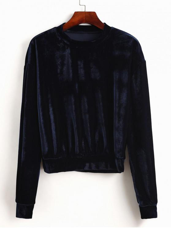 latest ZAFUL Stretchy Pullover Velvet Sweatshirt - MIDNIGHT BLUE L