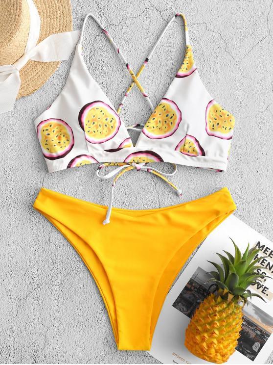fashion ZAFUL Passion Fruit Print Lace-up High Cut Bikini Swimsuit - RUBBER DUCKY YELLOW L