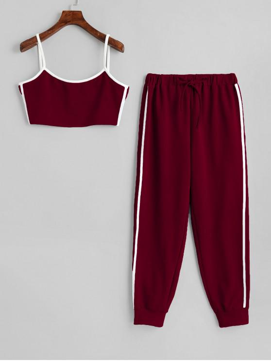 lady Side Striped Cropped Top And High Waist Pants - RED WINE L