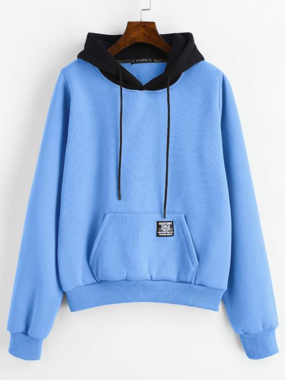 ZAFUL bolsillo de la bolsa Fleece Sudadera con capucha - Azul de Seda S