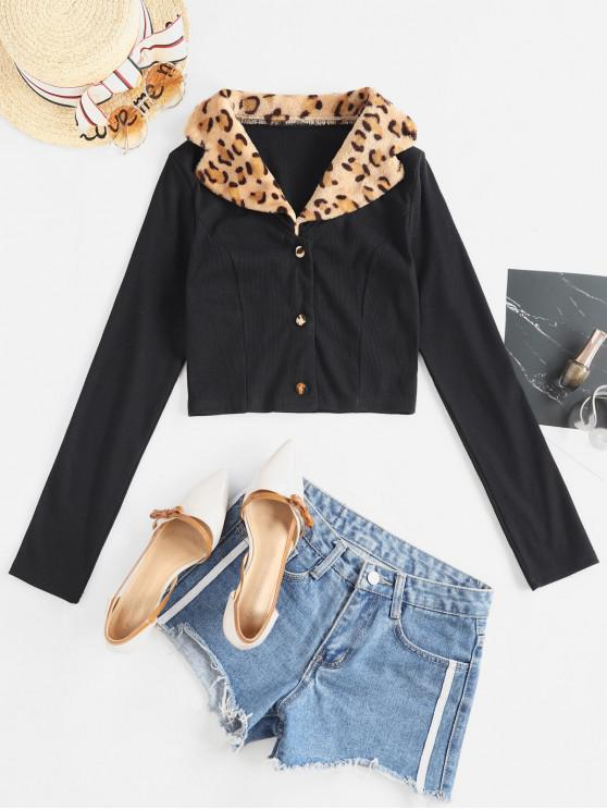 outfits Leopard Fluffy Collar Buttoned Crop Cardigan - BLACK M