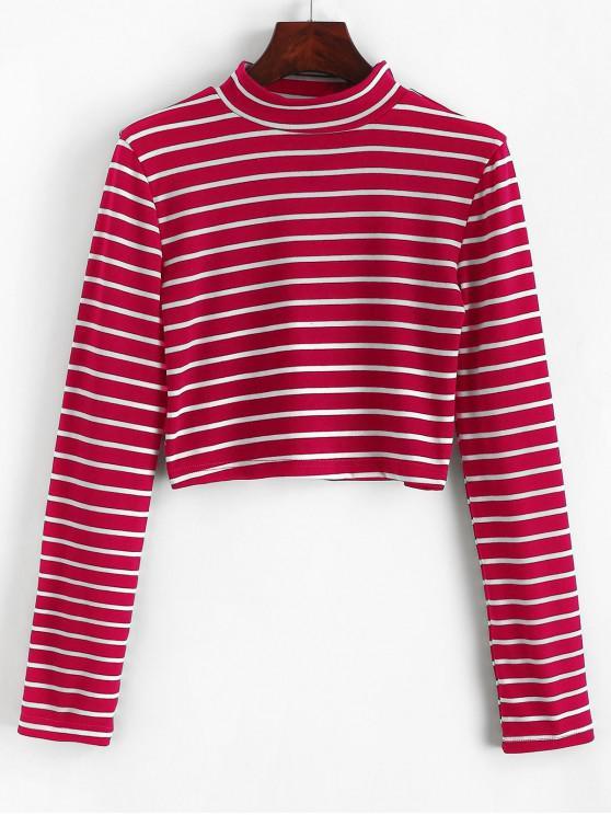 hot High Neck Stripe Crop Tee - RED WINE L