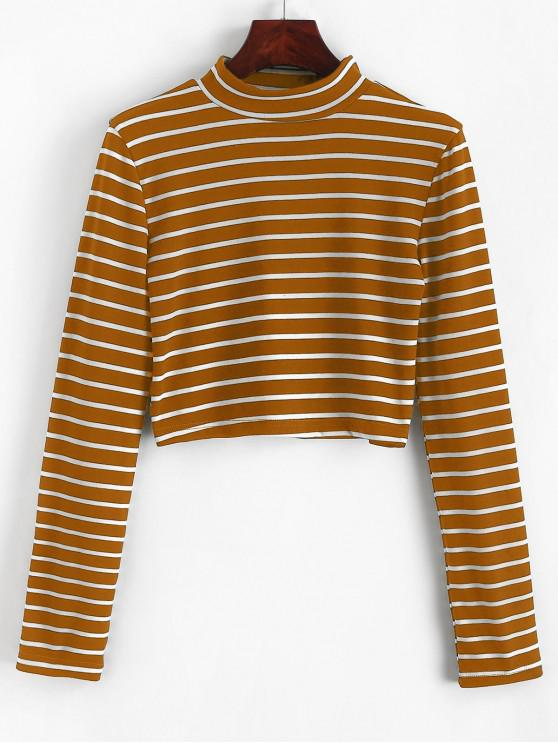 chic High Neck Stripe Crop Tee - LIGHT BROWN S