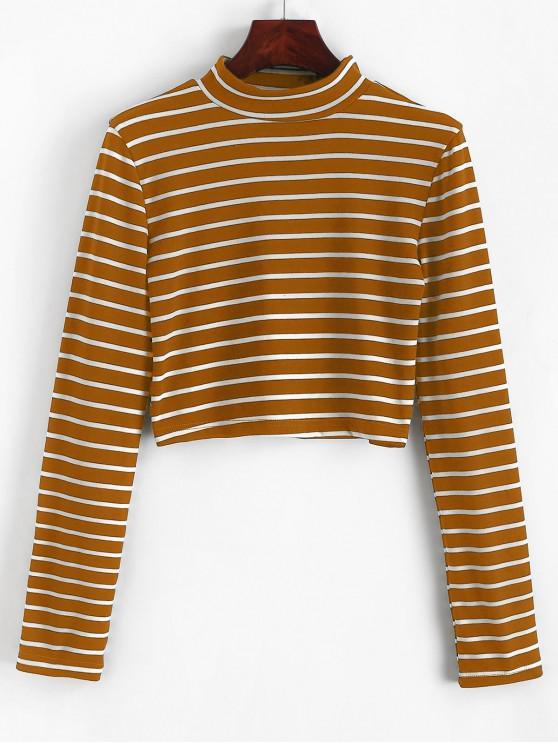 online High Neck Stripe Crop Tee - LIGHT BROWN XL