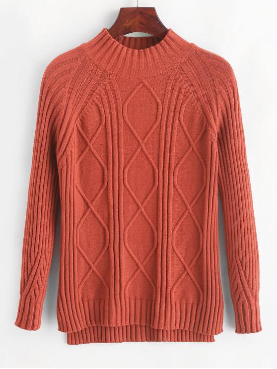 lady Pullover Mock Neck Raglan Sleeve Slit Sweater - CHESTNUT RED ONE SIZE
