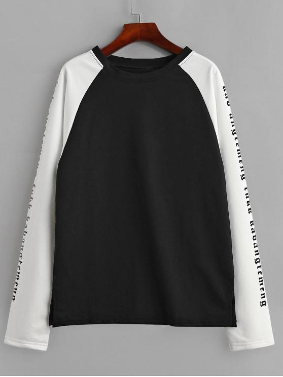 Sweat-shirt Slogan Graphique en Blocs de Couleurs à Manches Raglan - Multi M