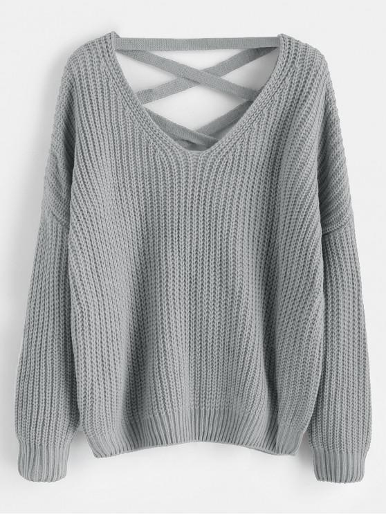 outfit Lace Up Drop Shoulder Chunky Sweater - LIGHT GRAY ONE SIZE