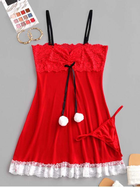 Traje de Babydoll con Panel de Encaje con Malla - Rojo S