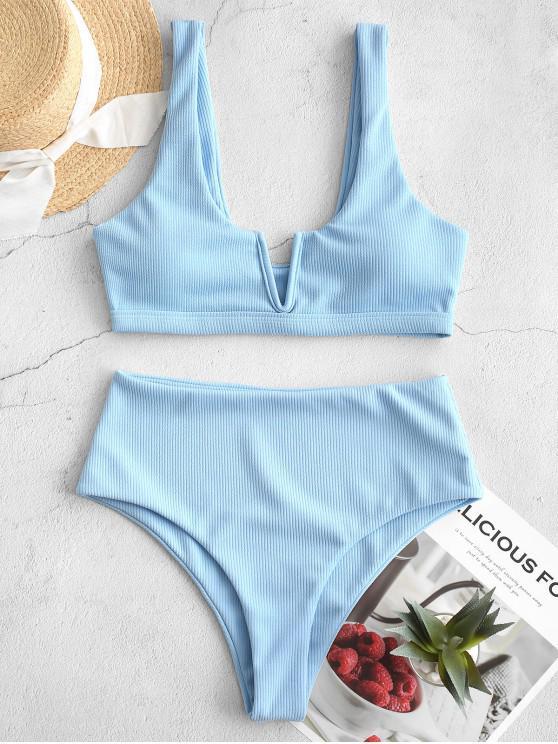 shops ZAFUL Ribbed V Wired High Waisted Bikini Swimsuit - SEA BLUE L