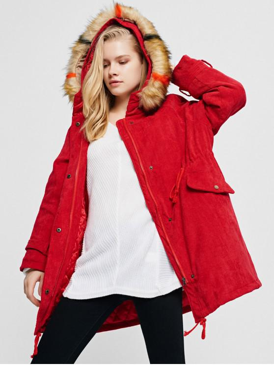 women Corduroy Hooded Padded Raglan Sleeve Coat - LAVA RED S