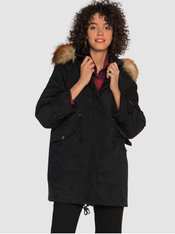 chic Corduroy Hooded Padded Raglan Sleeve Coat - BLACK XL