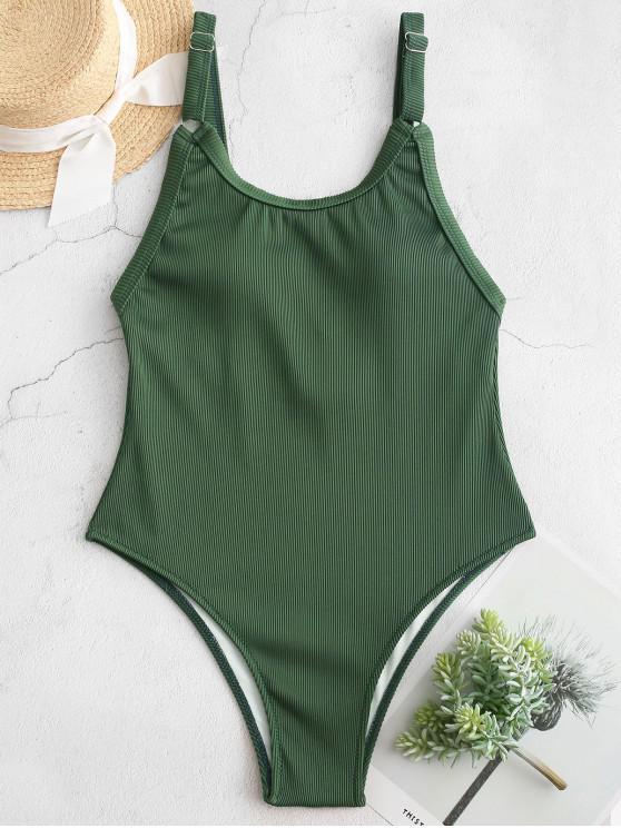 ZAFUL textura com nervuras de uma peça Swimsuit - Verde Médio do Mar XL