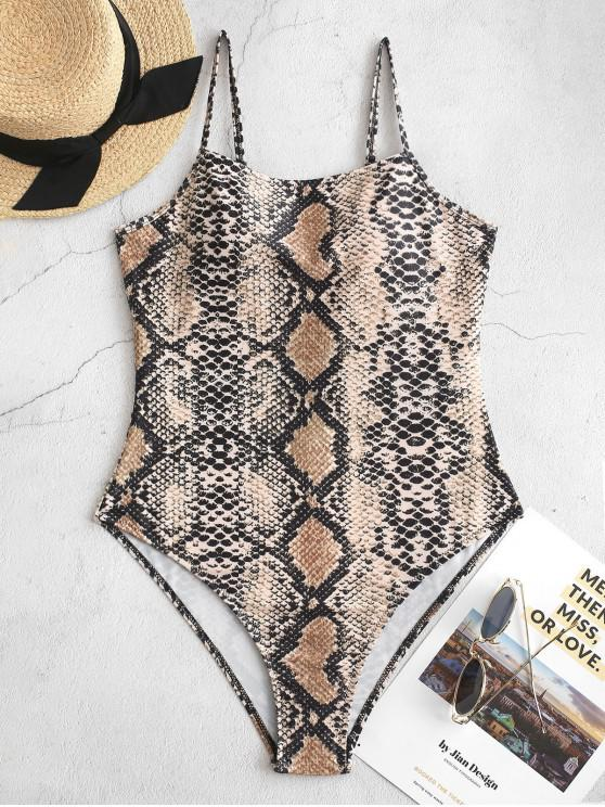 chic ZAFUL Snake Print One-piece Swimsuit - ORANGE GOLD L