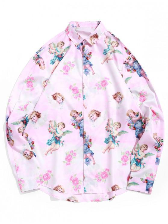 best Paradise Floral Angel Print Long Sleeve Vacation Shirt - PIG PINK 2XL