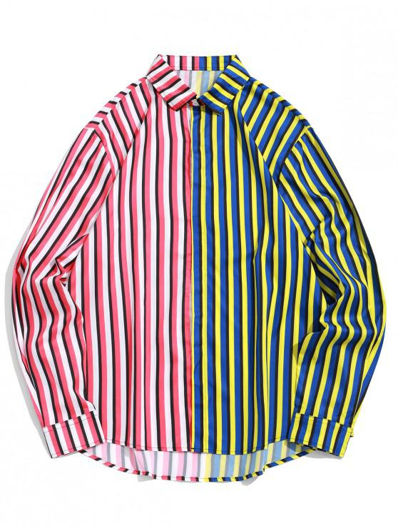 ladies Two Tone Stripes Spliced Print Long Sleeve Vacation Shirt - MULTI-A S