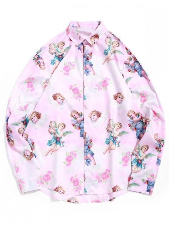 hot Paradise Floral Angel Print Long Sleeve Vacation Shirt - PIG PINK XL