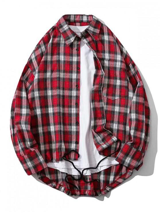 best Plaid Chest Pocket High Low Drop Shoulder Button Shirt - RED M