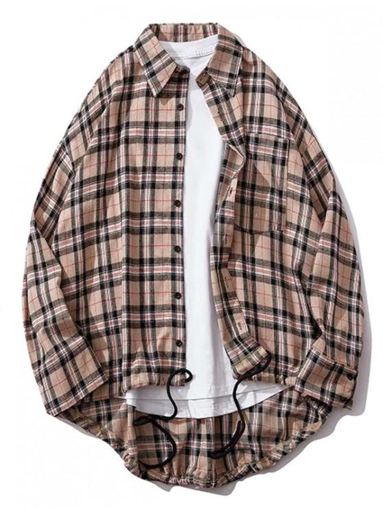 outfit Plaid Chest Pocket High Low Drop Shoulder Button Shirt - LIGHT PINK L