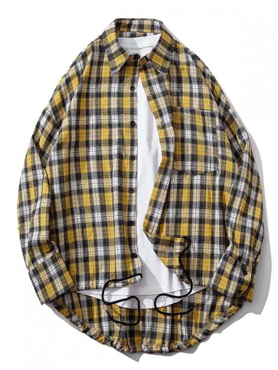 trendy Plaid Chest Pocket High Low Drop Shoulder Button Shirt - YELLOW XL