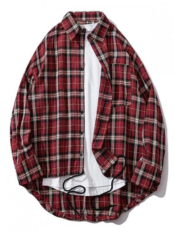 ladies Plaid Chest Pocket High Low Drop Shoulder Button Shirt - RED WINE 2XL