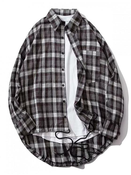 A cuadros bolsillo en el pecho Alto Bajo gota hombro del botón camisa - Negro M
