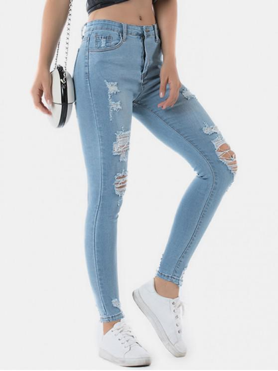 women Distressed Light Wash Skinny Jeans - DENIM BLUE M