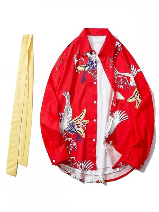fashion Floral Flying Crane Print Curved Hem Long Sleeve Shirt - RED M