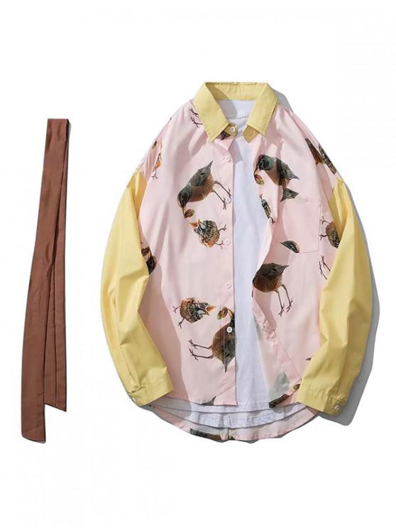 sale Bird Feeding Print Color-blocking Spliced Chest Pocket Shirt - PINK M