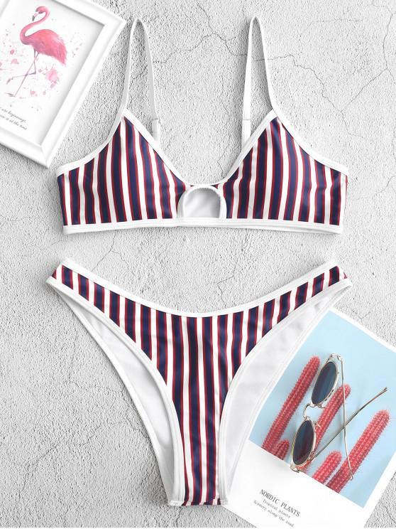 new ZAFUL Striped Keyhole Cami Bikini Swimwear - MULTI-A S