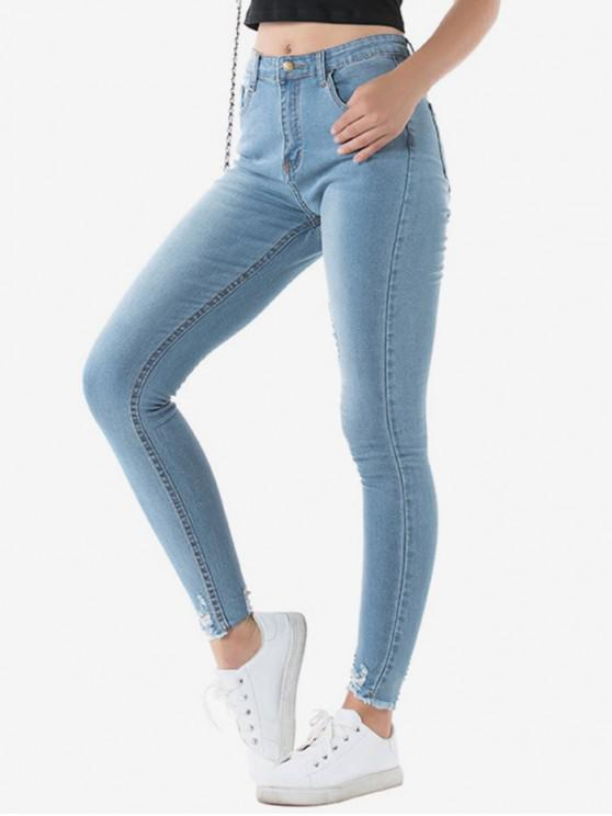 unique Ripped Stretchy Skinny Jeans - BLUE GRAY M