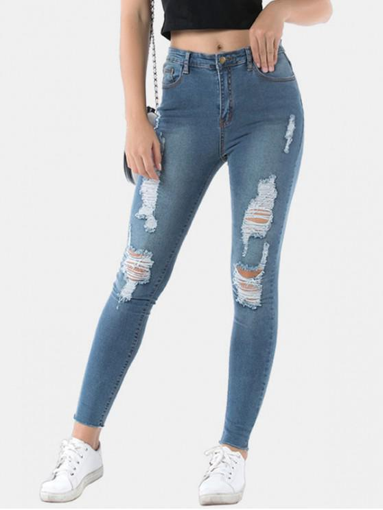 women Frayed Hem Distressed Skinny Jeans - JEANS BLUE L