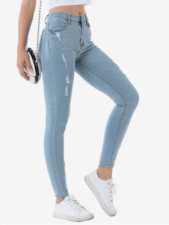 Pantalones Mezclilla Ajustados Rasgados Elásticos - Azul Denim M