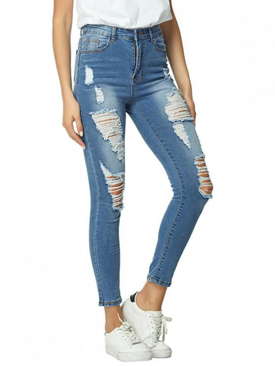 hot Distressed Elasticity Skinny Jeans - DODGER BLUE XL