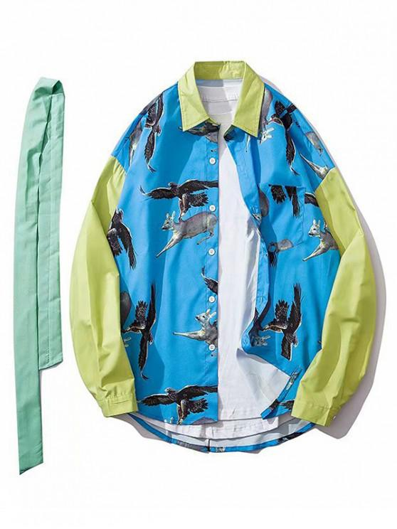 women Eagle Attacking Deer Print Colorblock Spliced Pocket Shirt - BLUE XL