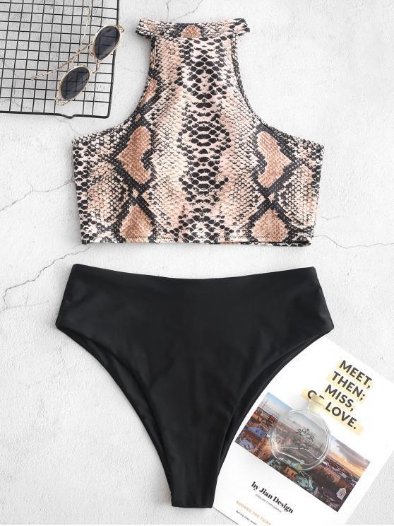 womens ZAFUL Halter Snakeskin High Leg Tankini Swimsuit - WOOD XL