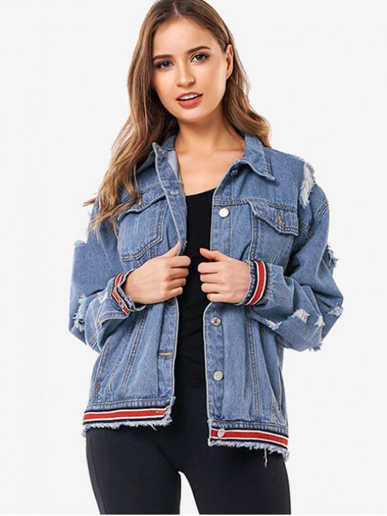 outfits Striped Trim Ripped Jean Jacket - DENIM BLUE XL