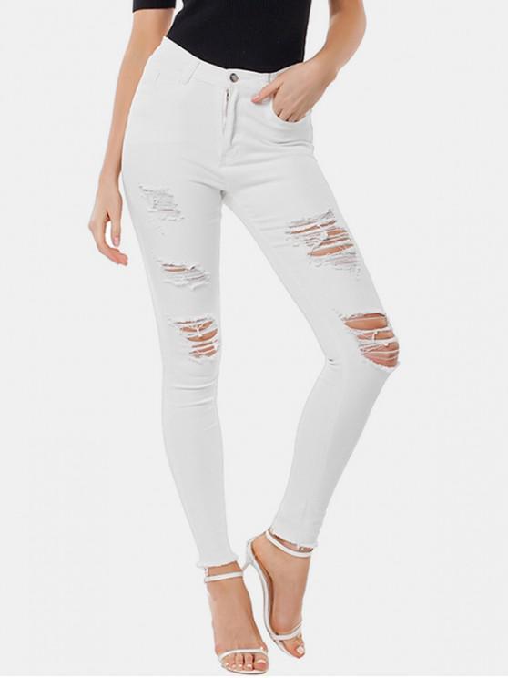 fancy Distressed Skinny Frayed Hem Jeans - WHITE S