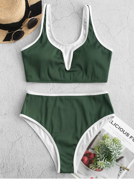 latest ZAFUL Contrast Piping V-wired Textured Ribbed Tankini Swimsuit - MEDIUM SEA GREEN M
