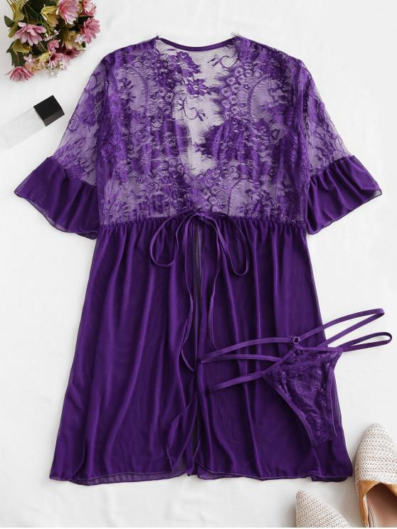 buy Tie Front Lace and Mesh Babydoll Set - PURPLE IRIS 2XL