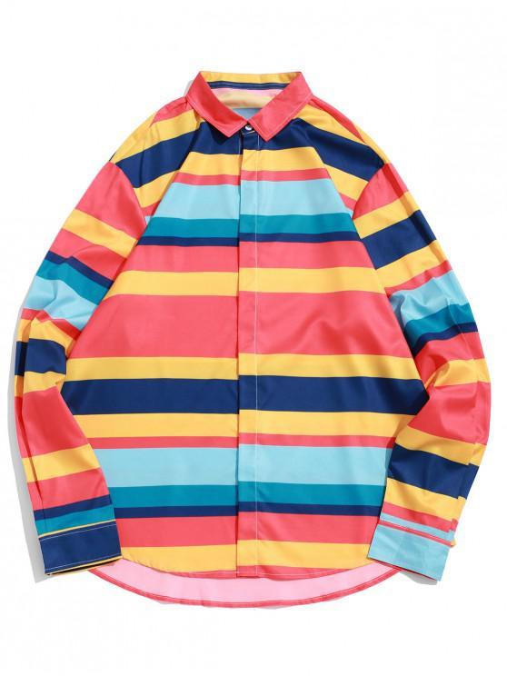 Camisa de Bloque de Color a Rayas de Bloque con Botón - Multicolor-A S
