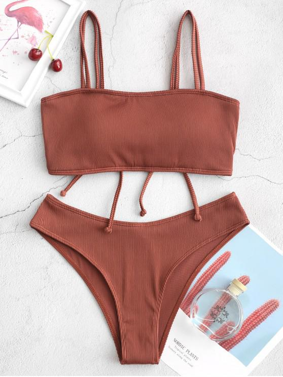ladies ZAFUL Cinched Textured Ribbed Bikini Swimsuit - CHERRY RED L