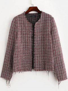Giacca In Tweed Con Orlo Strappato Di ZAFUL Aperto Davanti - Multi Colori S
