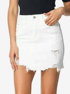Ripped Bodycon Denim Skirt - White S