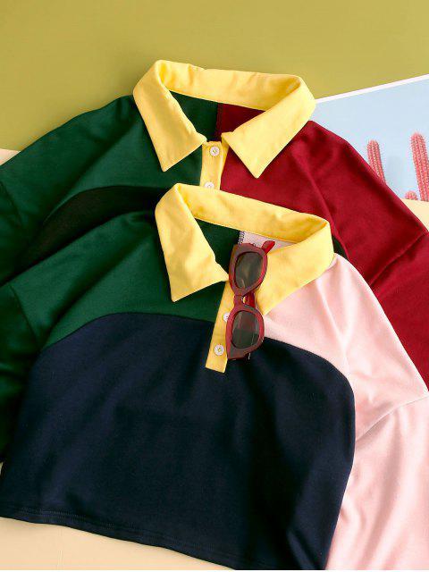outfits ZAFUL Colorblock Half Button Crop Sweatshirt - MULTI-B S Mobile