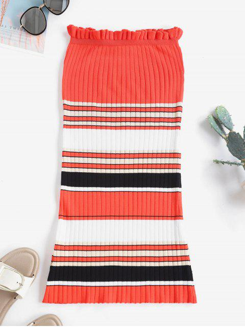 fancy Contrast Striped Ribbed Strapless Bodycon Dress - RED L Mobile