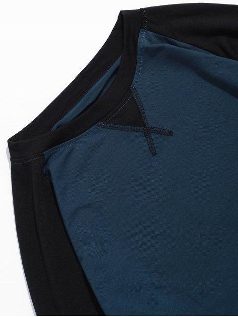 Camiseta de manga raglán que bloquea el color - Cadetblue XL Mobile