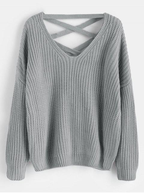 Suéter grueso con hombros descubiertos y cordones - Gris Claro Talla única Mobile