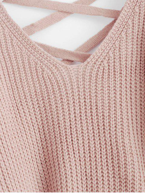 outfits Lace Up Drop Shoulder Chunky Sweater - PIG PINK ONE SIZE Mobile